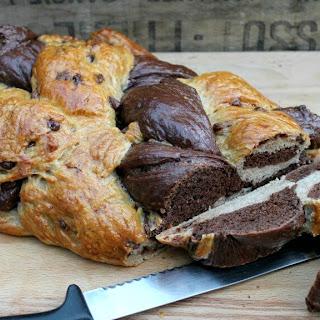 Chocolate Six-Strand Braided Challah Loaf.