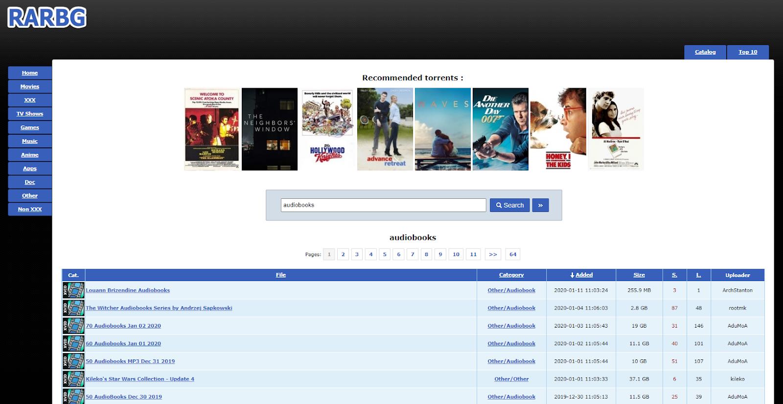 audiobook torrenting sites 2021 - RARBG