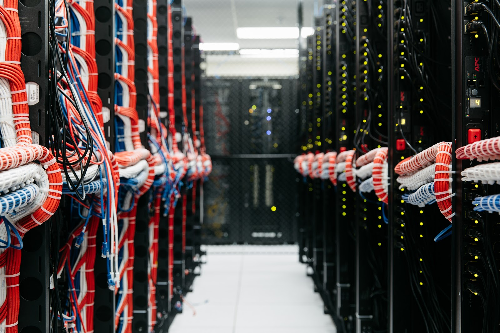Rows of server cabinets within a Hivelocity data center