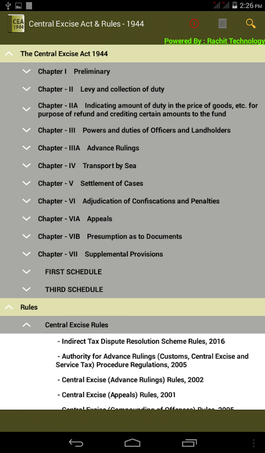 India - Central Excise Act &Rules 1944- screenshot