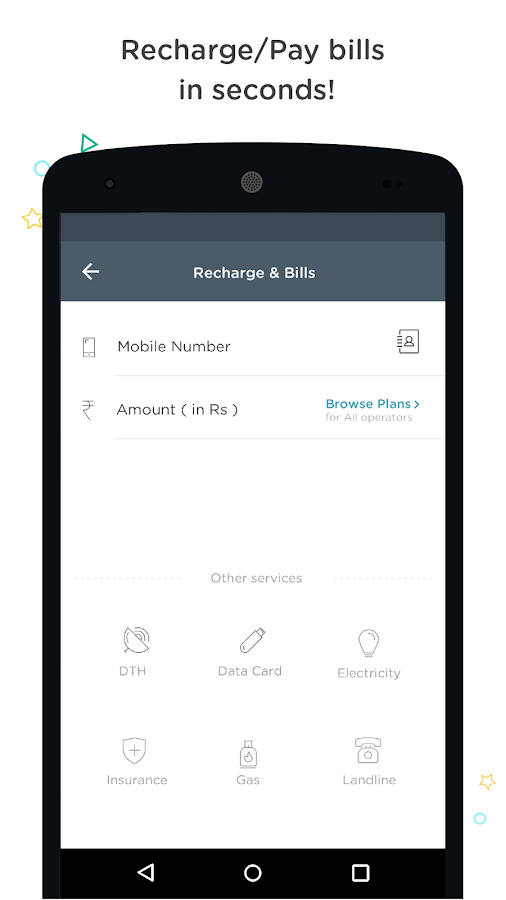 Recharge, Bills, Wallet, Bus- screenshot