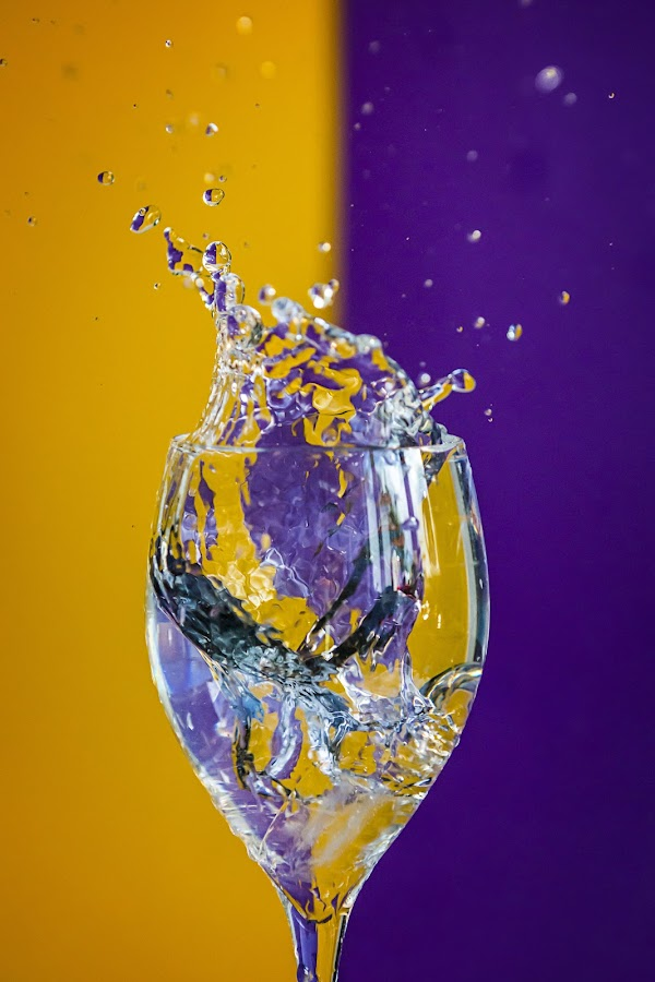 Yellow and Purple by Bren Dyer - Abstract Water Drops & Splashes ( splash, purple, ice, bren dyer, yellow )
