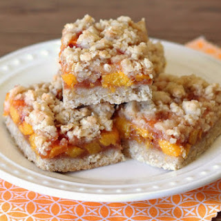 Gluten Free Vegan Peach Crumb Bars.