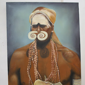 Papuan tribal chiefs Marind by Edwin Yepese - Painting All Painting ( all painting )