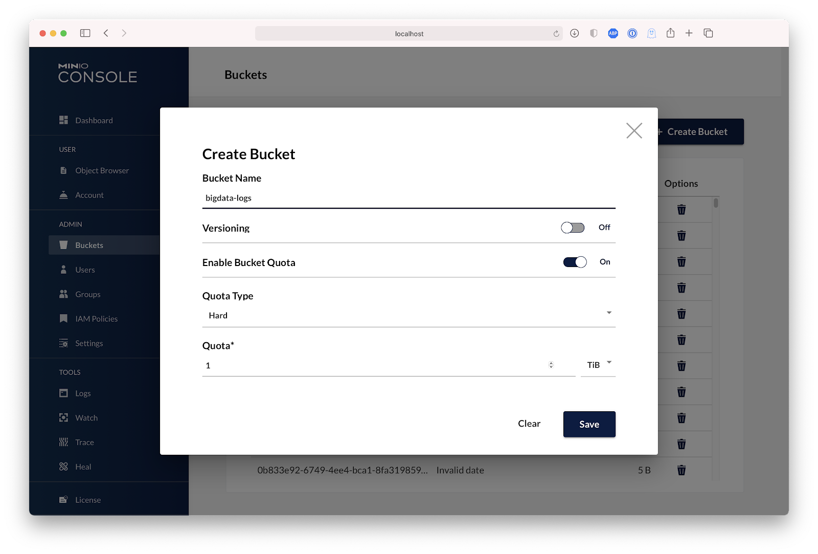 GUI to create bucket in MinIO Console