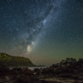 Midnight milky way by Nicole Rix - Landscapes Starscapes ( night photography, stars, beach, rock formation, seascape, milky way,  )