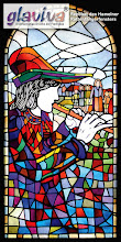 Photo: GLAVIVA • Digitaler Kunstdruck auf Glas • www.glaviva.de  Digital gedrucktes Kirchenfenster (Replikat Rattenfängerfenster / Hameln) Auftraggeber: Peter Blancke / Fulda