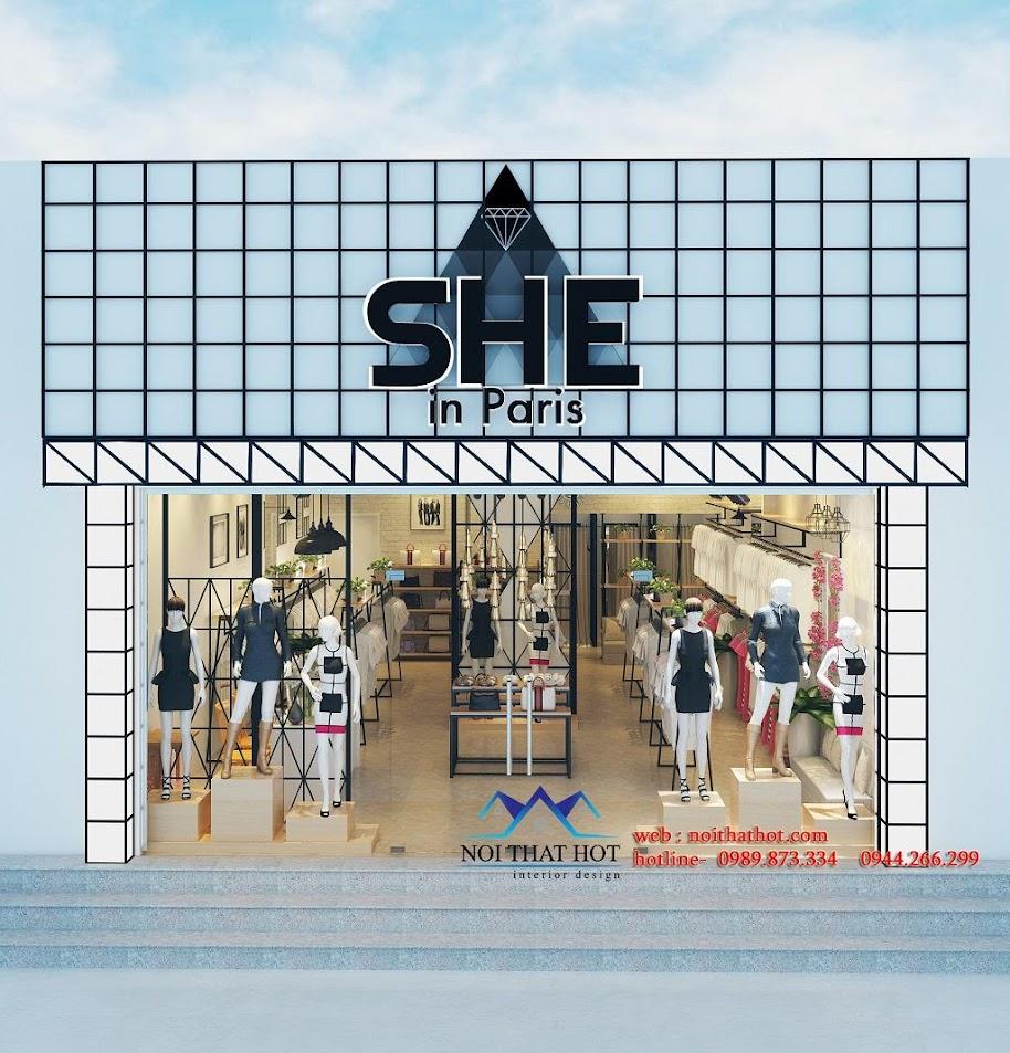 thiết kế shop thời trang nữ với mặt tiền ấn tượng