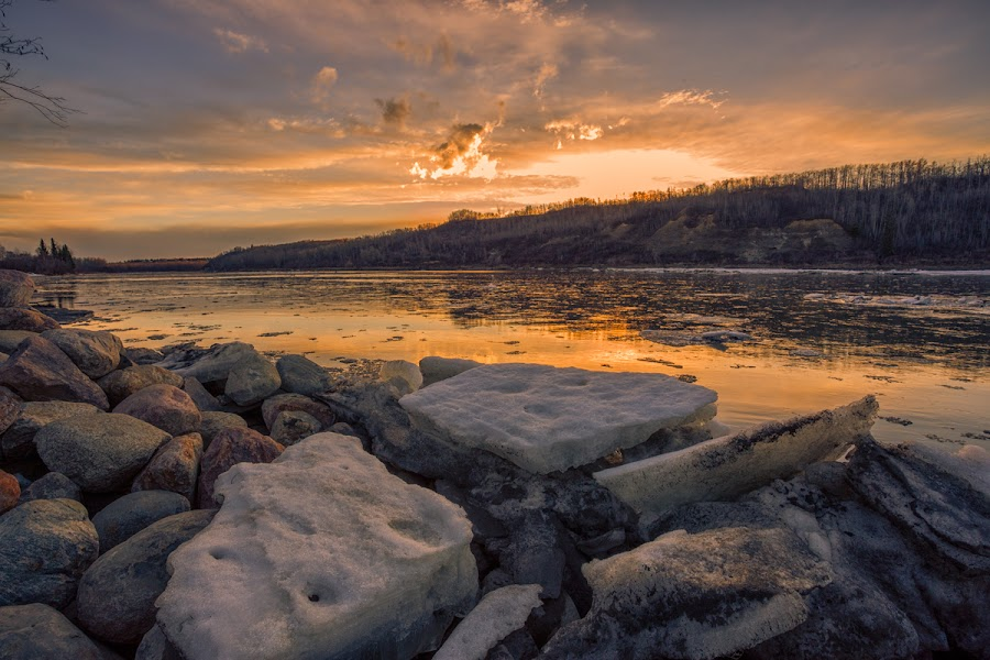Ice Melting by Chuxiong Miao - Landscapes Beaches ( melting, sunset, ice, edmonton, river, relax, tranquil, relaxing, tranquility )