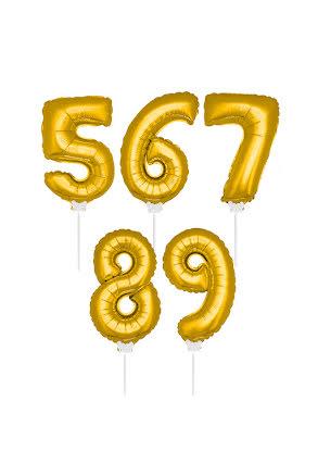 Folieballong m pinne 36 cm guld, 5-9
