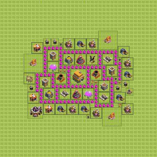 Town Hall 6 Trophy Base Layout - náhled