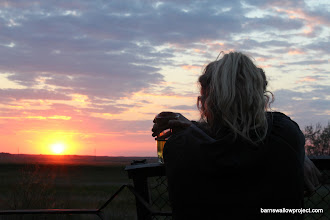 Photo: Liz ponders the steppe after a long day's work