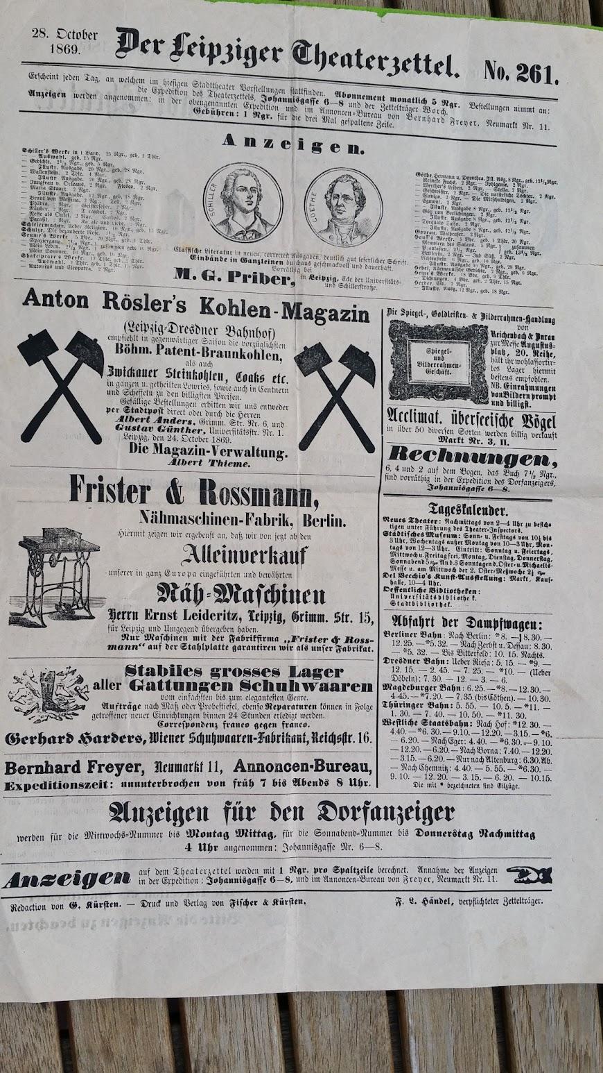 Neues Leipziger Stadt-Theater - Der Attaché - 28. Oktober 1869