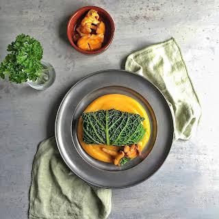 """Chanterelle Quinoa """"Risotto"""" Stuffed Cabbage with Butternut Squash Puree."""