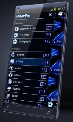Blue glow PlayerPro Skin - screenshot
