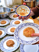 Photo: the flavored rice plated in round mounds on individual serving plates