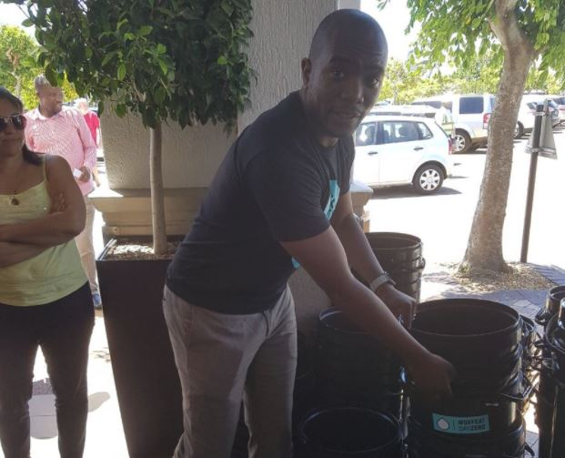 @MmusiMaimane handing out buckets to residents, where many still need to reduce their consumption.