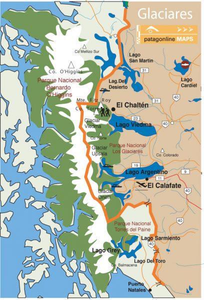 Perito Moreno Gletscher Karte