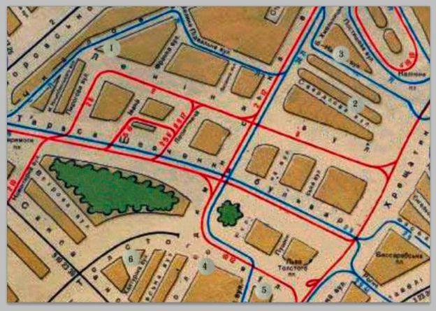 Карта Києва з позначеними будинками