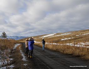Photo: Birders enjoying a sunny winter day in the Wallowa hills