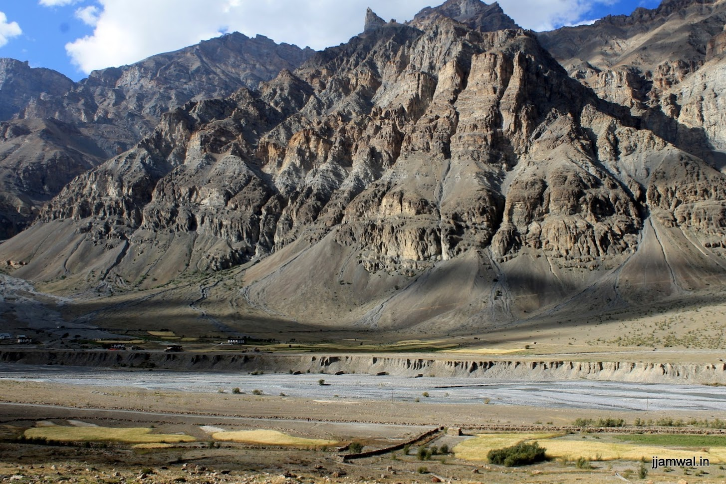 Farms, Spiti river and the majestic mountains in Losar village