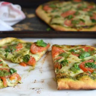 Pizza with Pesto, Fresh Tomatoes & Mozzarella