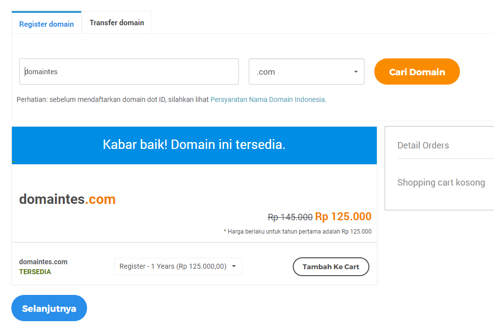 Halaman checkout pembelian domain di website Niagahoster