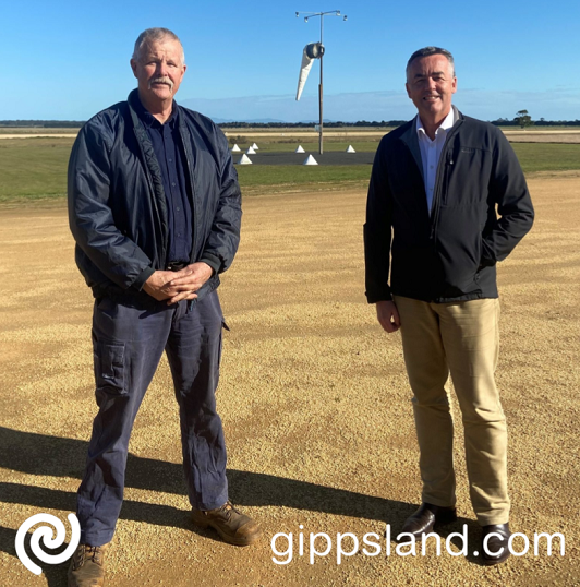 Yarram airport will receive $300,000 in Federal Government funding to install security and animal proof fencing. Local MP Darren Chester is pictured with President of the Yarram Aero Club, Brian Lucas