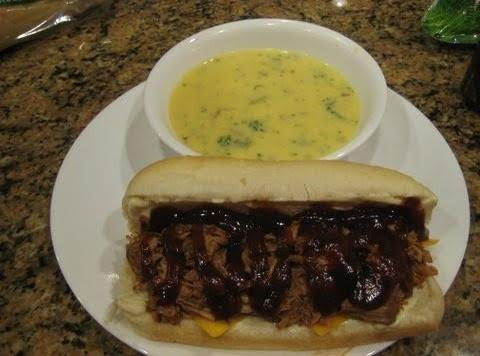 Bbq'd Pulled Pork Sandwich With A Side Of Cream Of Broccoli Soup.