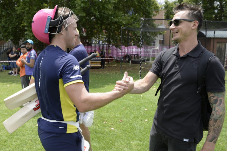 AB de Villiers and Dale Steyn of the Proteas during the South African national cricket team training session at Bidvest Wanderers Stadium on in Johannesburg, South Africa.