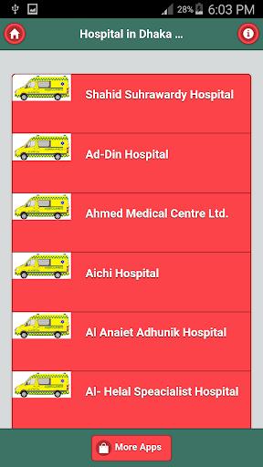 Hospital Phone address Dhaka