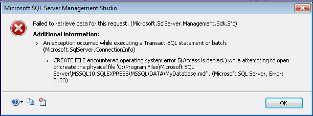 Solved] How to Fix Database Access Denied Error 5123 happen on SQL
