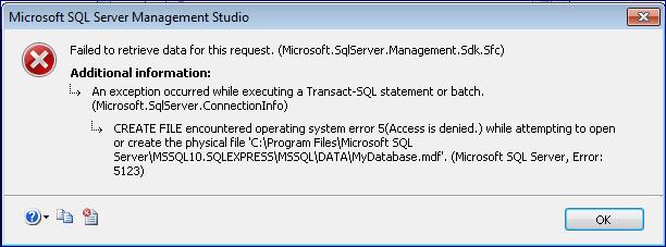 SQL Server 2008 R2 Database error 5123