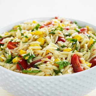 Orzo Pasta Salad with Tomatoes, Corn and Basil.