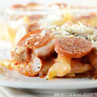 Pizza Pasta Bake with Pepperoni and Sausage.