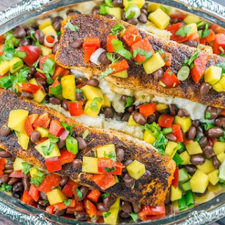 Blackened Salmon with Mango Black Bean Relish Recipe