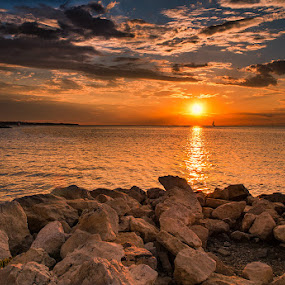 Lucija, Slovenia by Peter Zajfrid - Landscapes Travel ( sky, slovenija, sunset, slovenia, sea, rock, lucija )