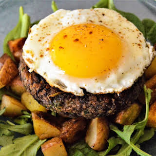 Mushroom Black Bean Patty Breakfast Stack.