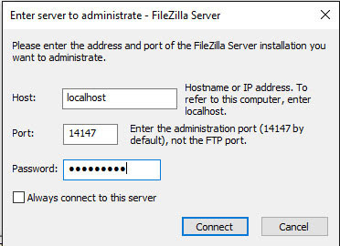Administrar el servidor FTP creado