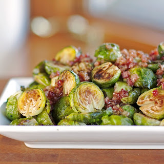 Roasted Brussels Sprouts with Maple Pancetta Bacon Glaze