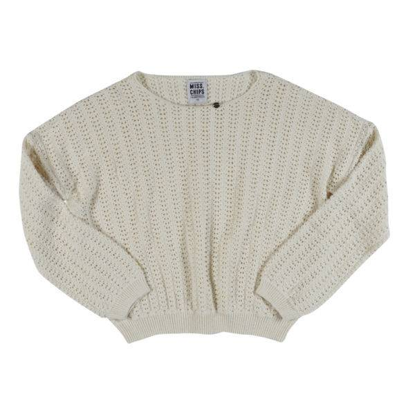 Pull Ajouré Knit Cropped Pearl