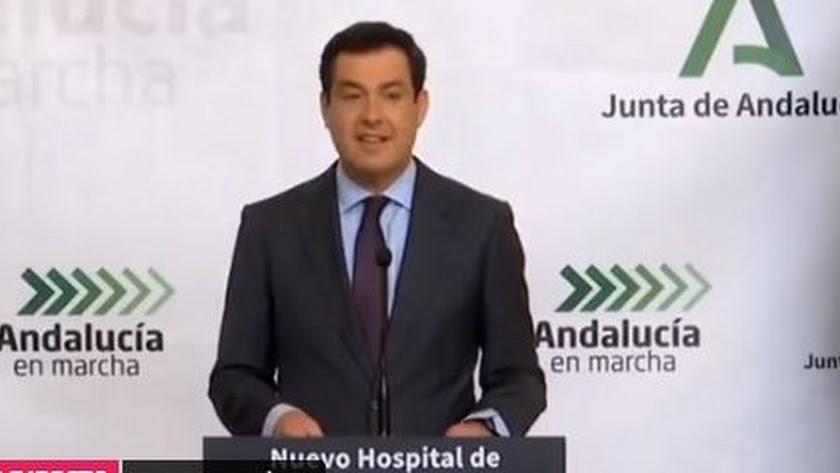 Juanma Moreno este lunes en la inauguración del Hospital de Alta Resolución de Estepona.
