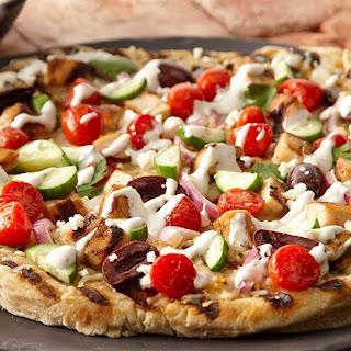 Grilled Chicken Greek Pizza.