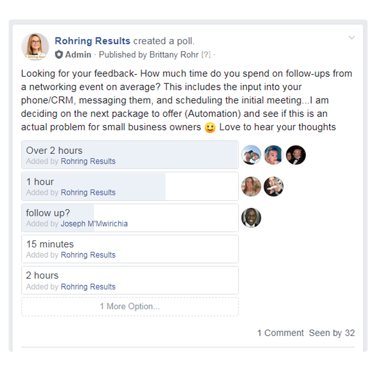 Brittany Rohr with Rohring Results in Sarasota Florida consults for Facebook Group Marketing
