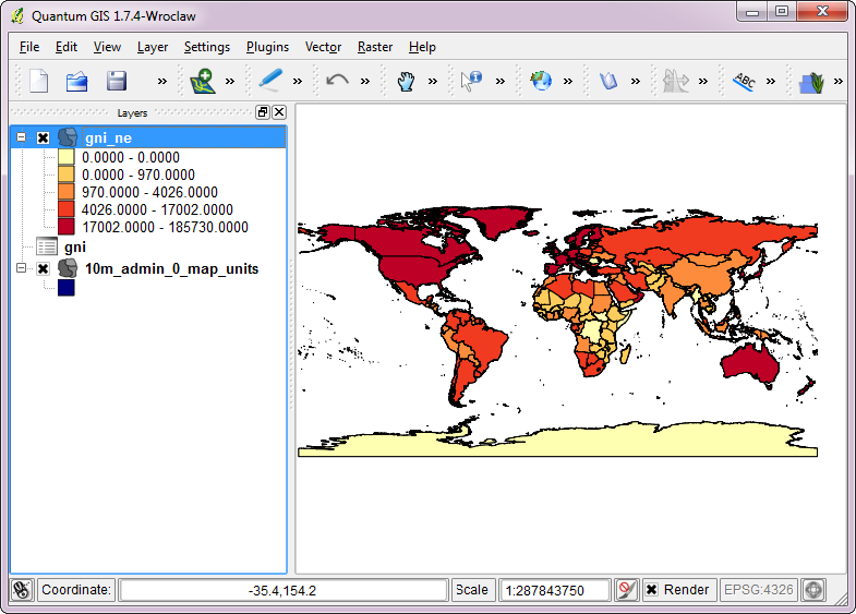 Quantum gis qgis tutorials tutorial using tabular data in qgis now you can style this layer to create a map showing the wealth distribution in the world use the technique in this tutorial for instructions on selecting gumiabroncs Images