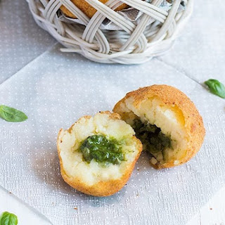 Vegan Potato Croquettes with Pesto and String Beans