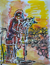 """Photo: Trombone Singer and Sax Player Appearing Live, 2011 -  Ink on Paper - 19"""" X 24"""""""