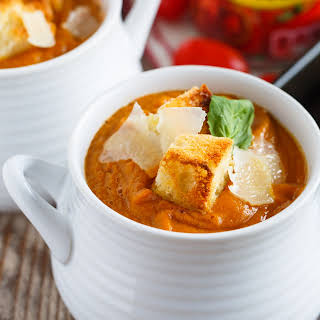 Fire-Roasted Tomato, Pumpkin and Corn Soup.