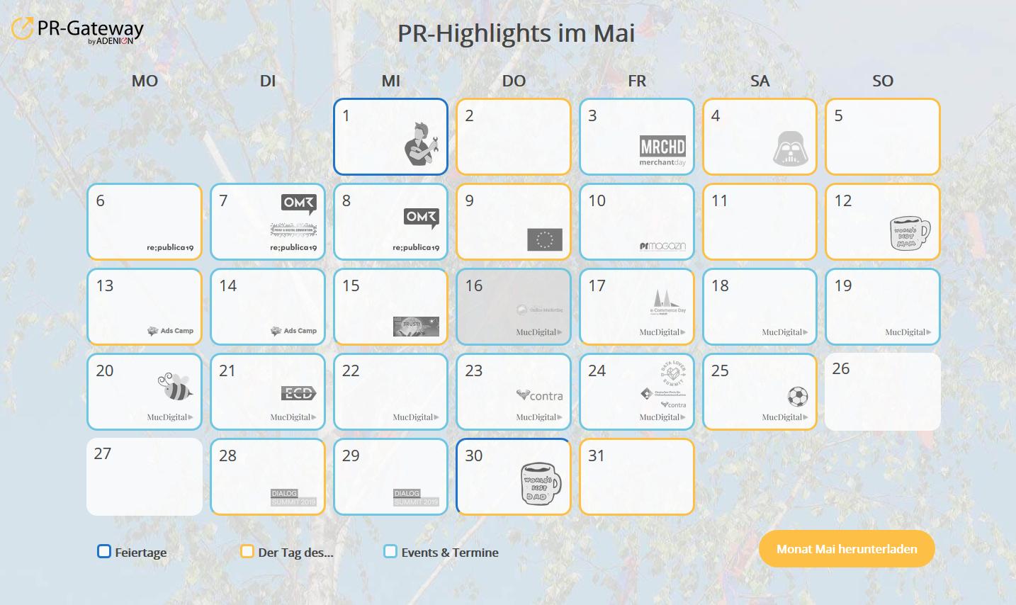 Perfekt für die Online-PR: Der PR-Gateway PR-Kalender