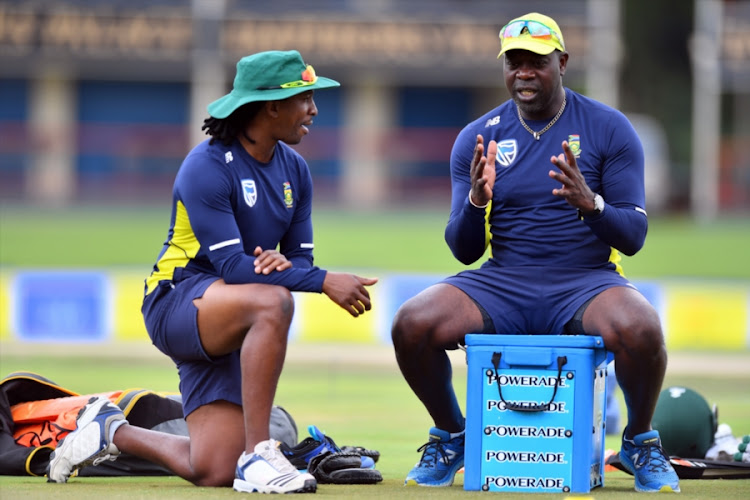 South Africa head coach Ottis Gibson (R) and assistant coach Malibongwe Maketa (L) during the Proteas' training session and press conference at SuperSport Park on February 20, 2018 in Pretoria, South Africa.